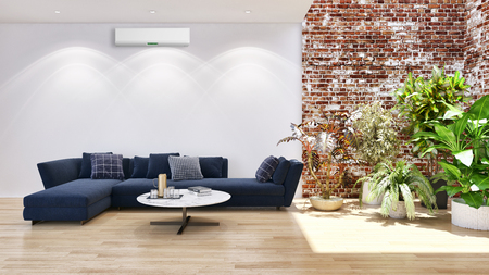 large luxury modern bright interiors with air conditioning illustration 3D rendering computer generated image not photos and not private property 스톡 콘텐츠 - 112651198