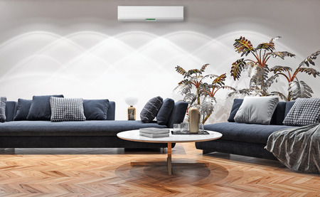 large luxury modern bright interiors with air conditioning illustration 3D rendering computer generated image not photos and not private property 스톡 콘텐츠 - 113206037