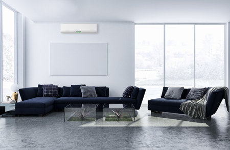 large luxury modern bright interiors with air conditioning illustration 3D rendering computer generated image not photos and not private property
