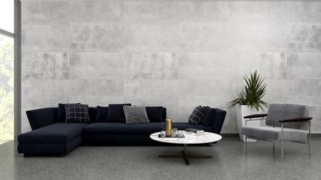 Große Luxus moderne helle Innenräume Wohnzimmer Illustration 3D-Rendering Computer digital generierte Bild
