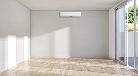 Gran sala de estar con interiores luminosos y modernos de lujo con aire acondicionado, ilustración, representación 3D Foto de archivo