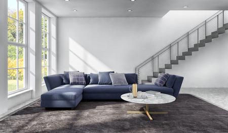 Grandes interiores luminosos y modernos de lujo, sala de estar, ilustración, renderizado 3D, equipo, imagen generada digitalmente Foto de archivo