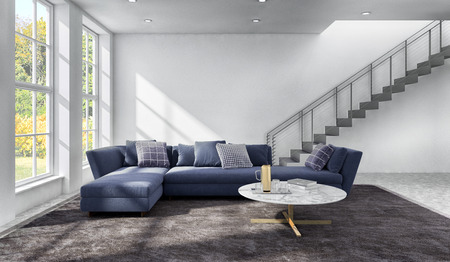 large luxury modern bright interiors Living room illustration 3D rendering computer digitally generated image Stock Photo
