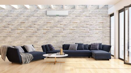 large luxury modern bright interiors living room with air conditioning illustration 3D rendering