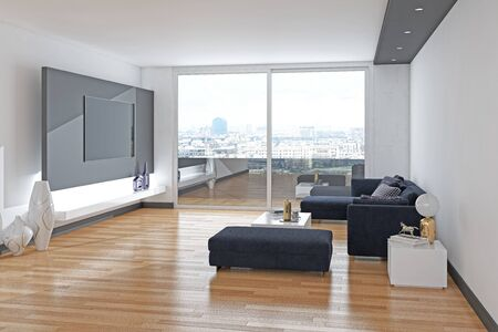 large luxury modern bright interiors Living room illustration 3D rendering computer digitally generated image 版權商用圖片 - 129251285