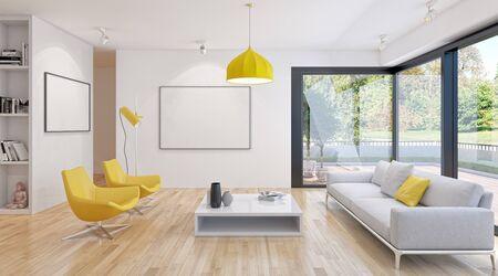 large luxury modern bright interiors Living room illustration 3D rendering computer digitally generated image 版權商用圖片 - 129251303