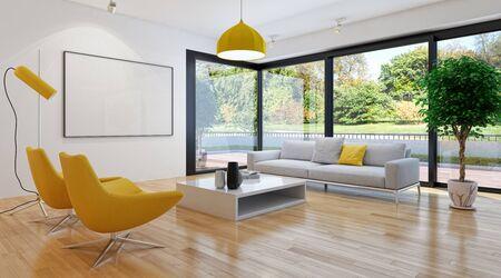 large luxury modern bright interiors Living room illustration 3D rendering computer digitally generated image 版權商用圖片 - 129251306