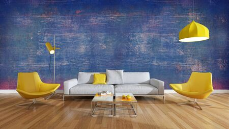 large luxury modern bright interiors Living room illustration 3D rendering computer digitally generated image Stock Illustration - 129319038
