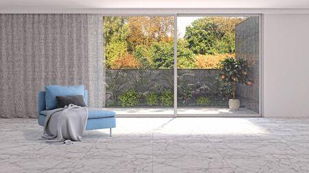 large luxury modern bright interiors Living room illustration 3D rendering computer digitally generated image Stock Illustration - 129319053