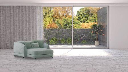 large luxury modern bright interiors Living room illustration 3D rendering computer digitally generated image Stock Illustration - 129319059