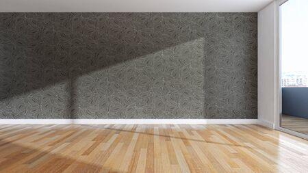 large luxury modern bright interiors empty room illustration 3D rendering computer generated image Stock Illustration - 129319068