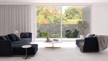 large luxury modern bright interiors Living room illustration 3D rendering computer digitally generated image Stock Illustration - 129319082