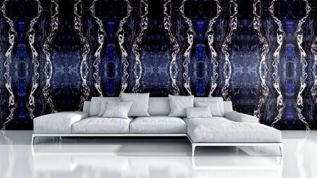 large luxury modern bright interiors Living room illustration 3D rendering computer digitally generated image Stock Illustration - 129524165