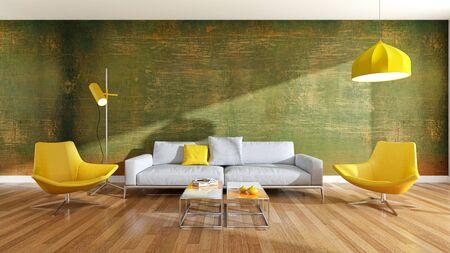 large luxury modern bright interiors Living room illustration 3D rendering computer digitally generated image Stock Illustration - 129524167