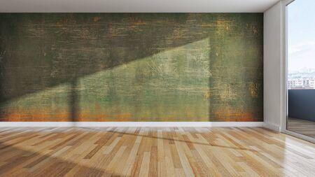 large luxury modern bright interiors empty room illustration 3D rendering computer generated image Stock Illustration - 129524173