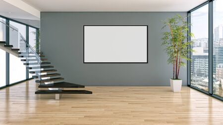 Modern bright interiors with mock up poster frame illustration 3D rendering computer generated image Stock Illustration - 129524033