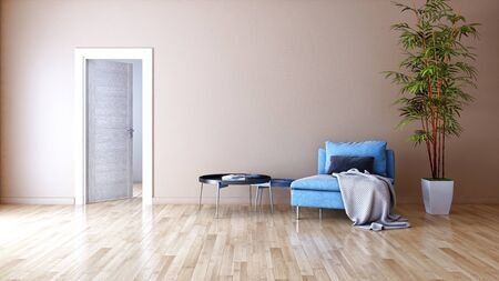 large luxury modern bright interiors Living room illustration 3D rendering computer digitally generated image Stock Illustration - 129524040