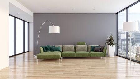 large luxury modern bright interiors Living room illustration 3D rendering computer digitally generated image Stock Illustration - 129524046
