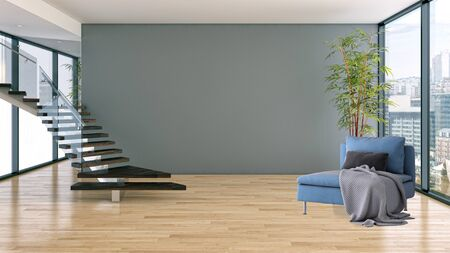 large luxury modern bright interiors Living room illustration 3D rendering computer digitally generated image Stock Illustration - 129524050
