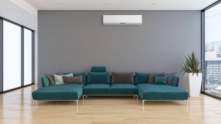 Gran sala de estar con interiores luminosos y modernos de lujo con aire acondicionado, ilustración, representación 3D
