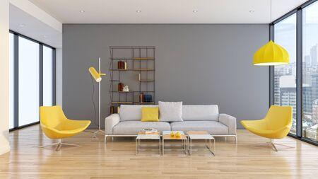 large luxury modern bright interiors Living room illustration 3D rendering computer digitally generated image Stock Illustration - 129524058