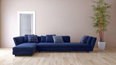 large luxury modern bright interiors Living room illustration 3D rendering computer digitally generated image Stock Illustration - 129524189