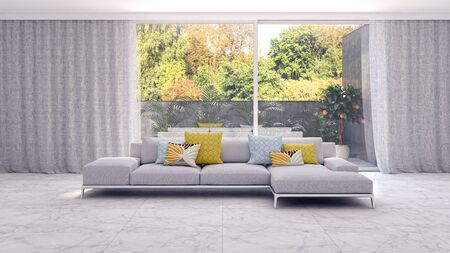 large luxury modern bright interiors Living room illustration 3D rendering computer digitally generated image Stock Illustration - 129524191
