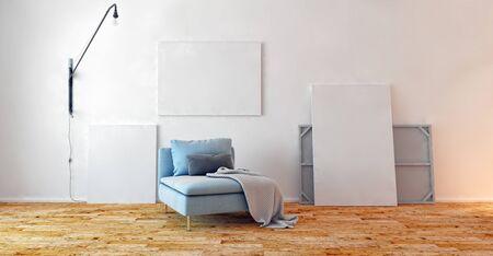 large luxury modern bright interiors Living room illustration 3D rendering computer digitally generated image Stock Illustration - 129524197