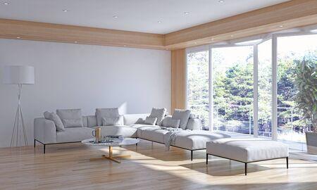 large luxury modern bright interiors Living room illustration 3D rendering computer digitally generated image Stock Illustration - 129524209