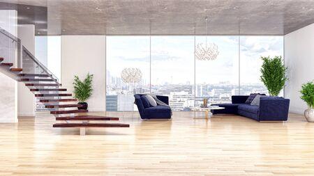 large luxury modern bright interiors Living room illustration 3D rendering computer digitally generated image Stock Illustration - 129524211