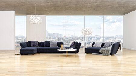 large luxury modern bright interiors Living room illustration 3D rendering computer digitally generated image Stock Illustration - 129524212