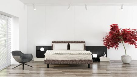 Modern bright bed room interiors 3D rendering illustration computer generated image Stock Photo