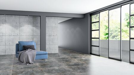 large luxury modern bright interiors empty room illustration 3D rendering computer generated image