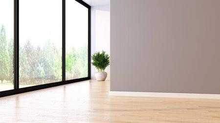 Grandes interiores luminosos modernos de lujo habitación vacía ilustración 3D rendering imagen generada por ordenador