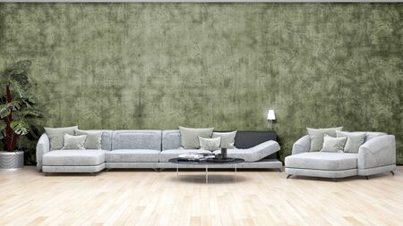 large luxury modern bright interiors Living room illustration 3D rendering computer digitally generated image