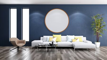 large luxury modern bright interiors Living room mockup round frame illustration 3D rendering computer digitally generated image 스톡 콘텐츠