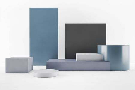 Minimal abstract background 3d rendering, group of geometric shapes, abstract composition, 3d illustration 스톡 콘텐츠