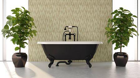 Ilustración de renderizado 3D de interiores de baño moderno y luminoso Foto de archivo