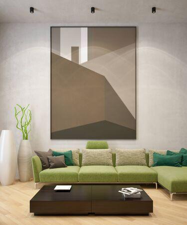 Grandes interiores luminosos y modernos de lujo Sala de estar maqueta ilustración 3D rendering imagen generada digitalmente por computadora Foto de archivo