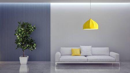 Large luxury modern bright interiors Living room mockup illustration 3D rendering computer digitally generated image Foto de archivo