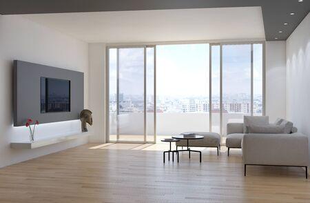 Large luxury modern bright interiors Living room mockup illustration 3D rendering computer digitally generated image Stock Photo