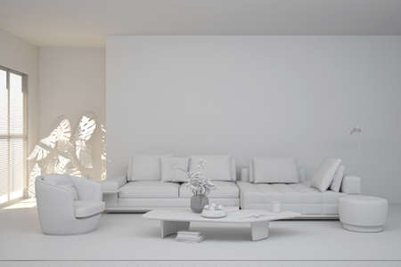 Illustration 3D rendering large luxury modern bright interiors Living room mockup computer digitally generated image Foto de archivo