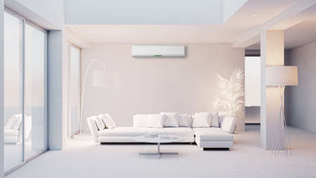 large luxury modern bright interiors living room with air conditioning mockup illustration 3D rendering