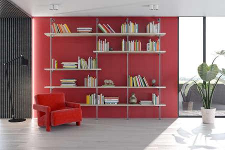 Illustration 3D rendering large luxury modern bright interiors Living room mockup computer digitally generated image Stock Photo