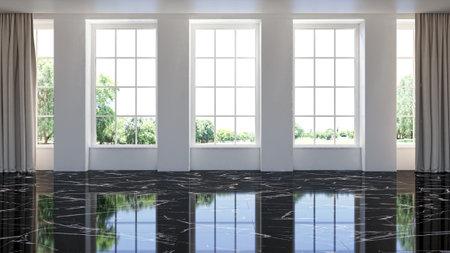 Illustration 3D rendering large luxury modern bright interiors Living room mockup computer digitally generated image