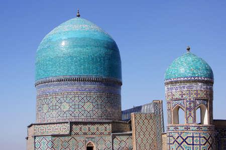 samarkand: Domes of Tilya-Kori mosque. The Tilya-Kori is a Madrasah and mosque on Registan square in Samarkand, Uzbekistan