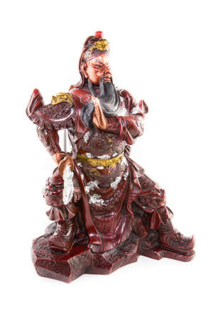 Statue Kwnao Guanyu red face weapon halbert the god of china fighter famous in public temple Stock Photo