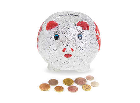 Piggy bank with coin on white background Stock Photo