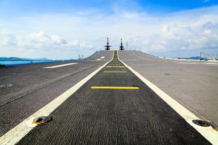 strips away: The battleship Runway, Sattahip Thailand Stock Photo