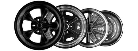 chrome wheels: Steel alloy car rims over the white background Stock Photo